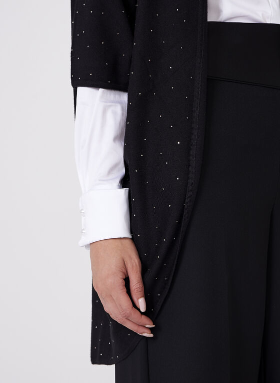 Elena Wang - Rhinestone Detail Open Cardigan , Black, hi-res