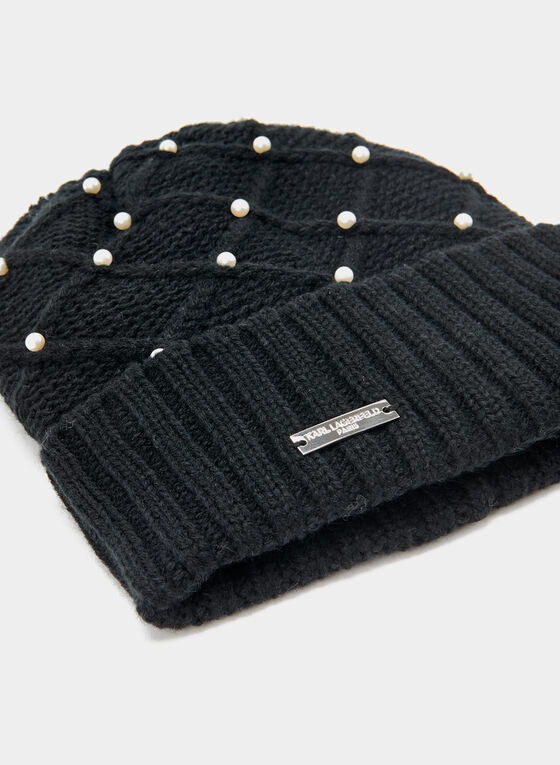 Karl Lagerfeld Paris - Pearl Embellished Knit Toque, Black