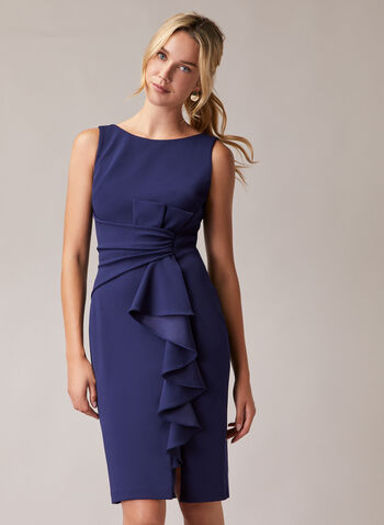 Avery G - Cascade Detail Sheath Dress, Blue,  cocktail dress, tie, cascade, ruffle, sheath, sleeveless, bow, spring summer 2020