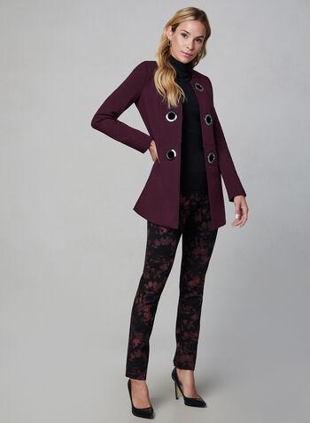 Veste à œillets surdimensionnés, Violet, hi-res,  automne hiver 2019, manches longues, veste longue, œillets, métallique, épaulettes