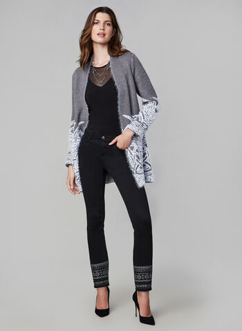 Eyelash Open Front Cardigan , Grey, hi-res,  cardigan, open front, knit, soft, eyelash, print, embroidered, open front, pockets, fall 2019, winter 2019