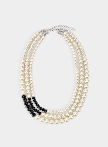 Collier à rangées de perles, Noir, hi-res,  collier, perles, pierres, rangées, automne hiver 2019