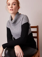 Colour Block Wide Turtleneck Sweater, Grey