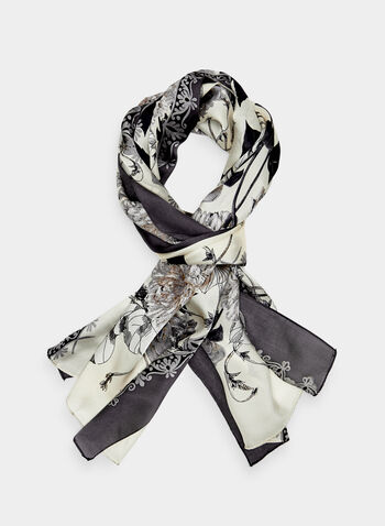 Floral Print Silk Scarf, Off White, hi-res,