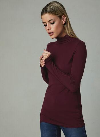 Long Sleeve Turtleneck Top, Red, hi-res