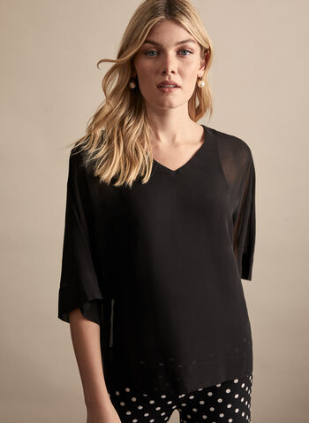 Chiffon Kimono Sleeve Blouse, Black,  top, blouse, chiffon top, chiffon, chiffon blouse, v-neck, spring 2020, summer 2020