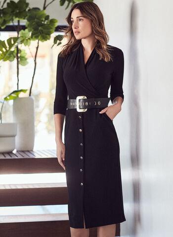 Joseph Ribkoff - Button Skirt Belted Dress, Black,  day dress, belt, crossover, button skirt, fall winter 2020, frank lyman