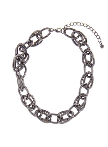 Double Chain Link Necklace, Grey, hi-res