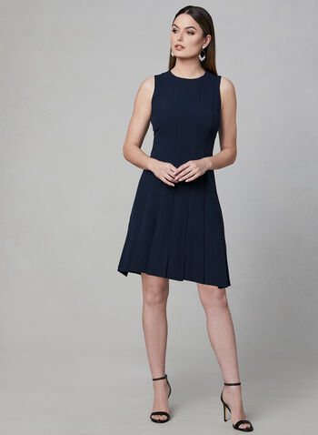 Julia Jordan - Paneled Crepe Dress, Blue, hi-res