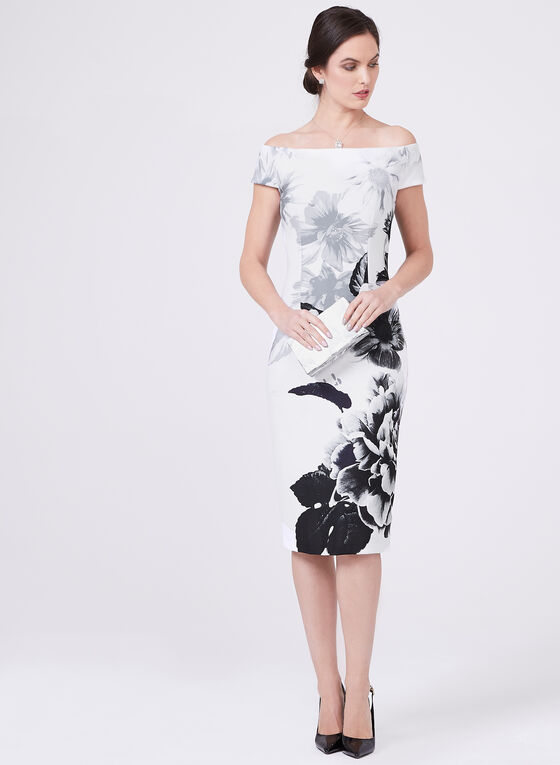Ignite Evenings – Floral Print Wiggle Dress, Black, hi-res