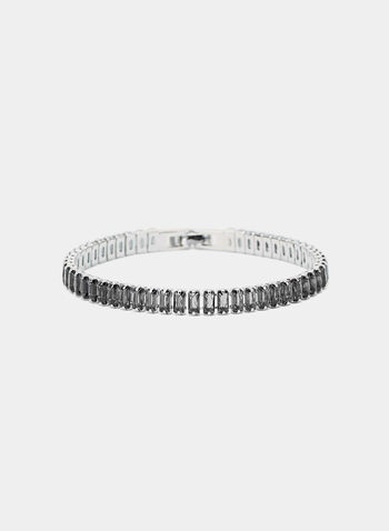 Baguette Tennis Bracelet, Grey, hi-res