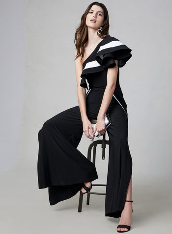 Frank Lyman - Wide Leg Jumpsuit, Black, hi-res,  Spring 2019, summer 2019, jersey fabric, jumpsuit, one-shoulder, wide leg, Made in Canada