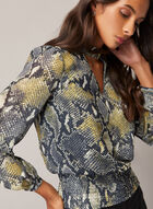 Snake Print Balloon Sleeve Blouse, Yellow