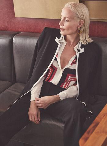 Contrast Detail Redingote, Black,  jacket, redingote, inverted notch collar, contrast, pockets, crepe, stretchy, long, open front, spring summer 2021