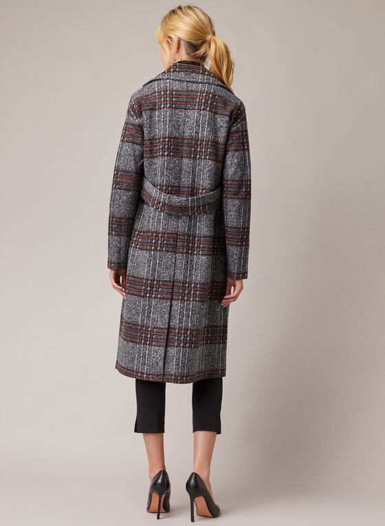 Long Plaid Coat, Grey