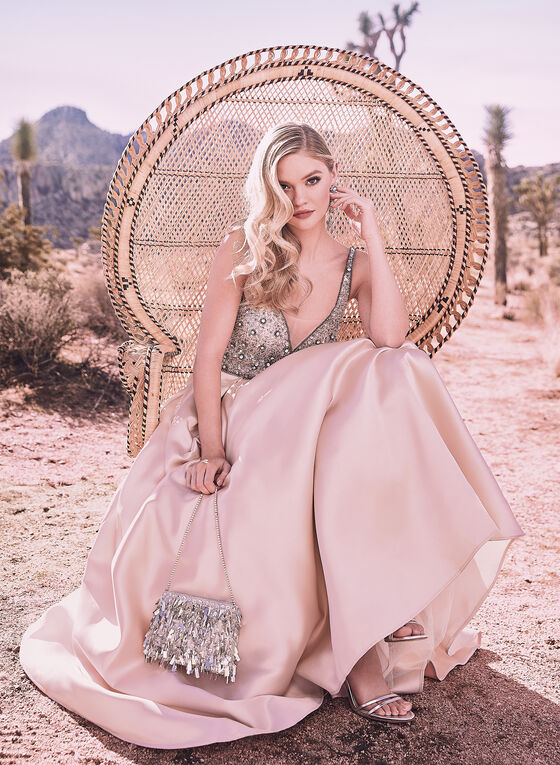 Terani Couture - Robe satinée à corsage en cristaux, Rose