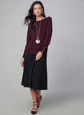 A-Line Maxi Skirt, Black,  crepe, stretchy, pull-on, flared, fall 2019, winter 2019