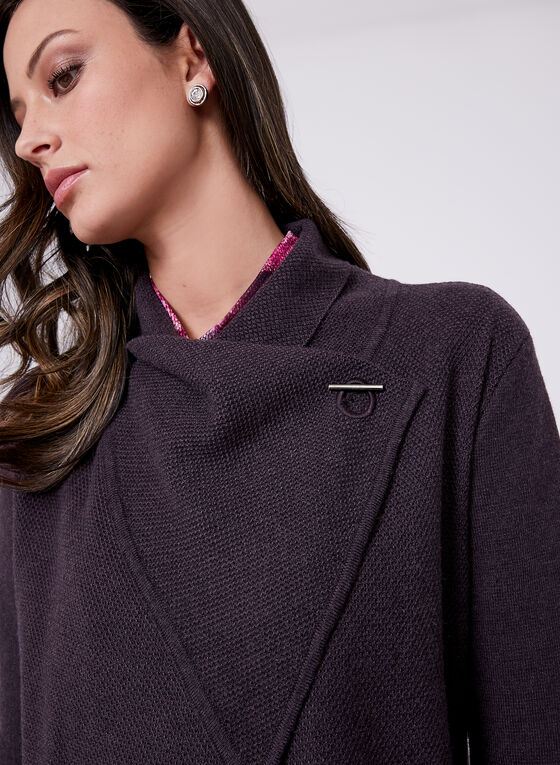 Cardigan ouvert en tricot piqué et fermoir métallique, Violet, hi-res