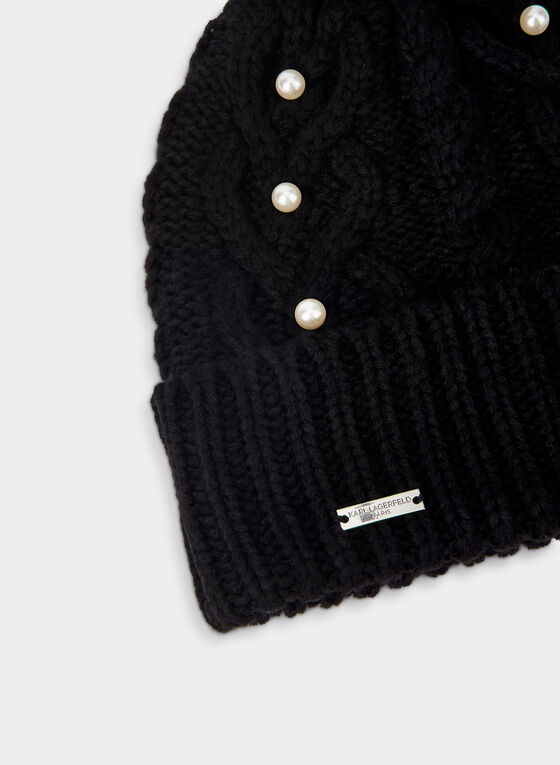 Karl Lagerfeld Paris - Cable Knit Tuque, Black
