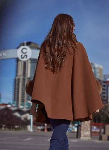 Mallia - Fur Detail Wool Cape, Beige,  fall 2021, mallia, coat, jacket, outerwear, made in canada, one size only, fox, wool, cashmere, fur, 3/4 sleeves, blue fur, blue dyed, cape