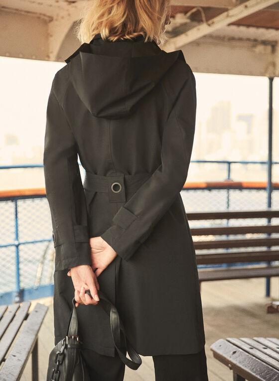 Belted Zip Front Raincoat, Black