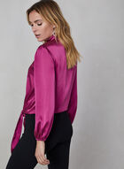 Side Tie Satin Blouse, Purple