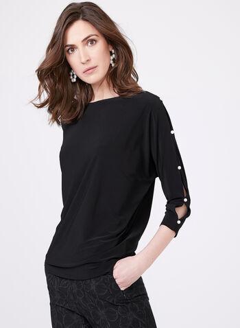 Dolman Sleeve Pearl Detail Top , Black, hi-res