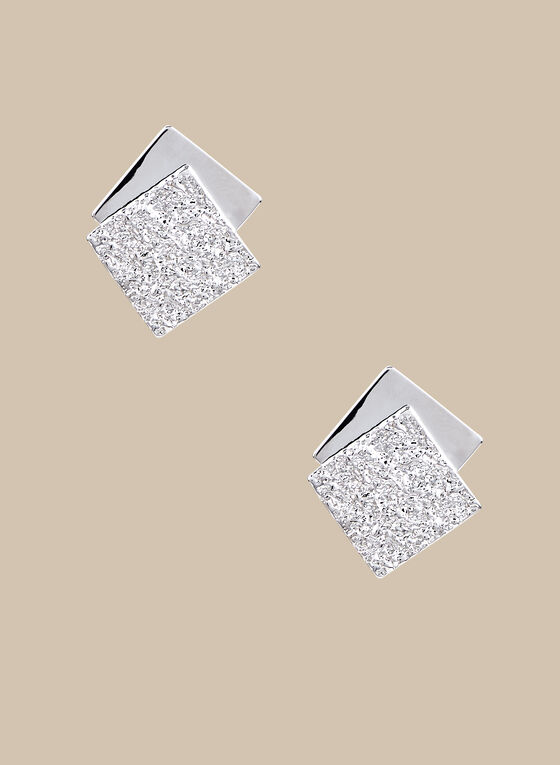 Square Button Earrings, Silver