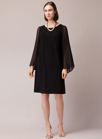 Pleated Sleeve Straight Dress, Black,  cocktail dress, pleated sleeves, chiffon, jersey, fall winter 2020