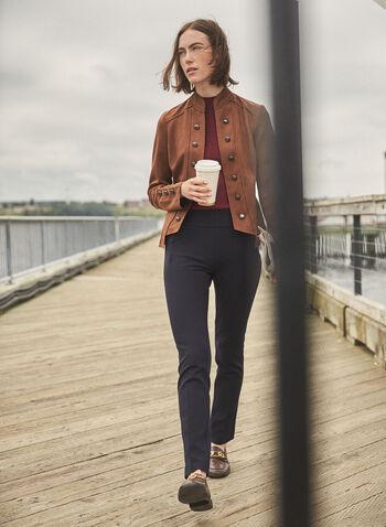 Pantalon Madison à jambe étroite, Bleu,  pantalon, madison, pull-on, jambe étroite, taille haute, pinces, poches, printemps été 2020