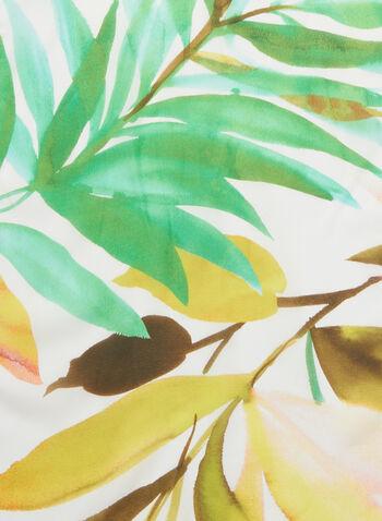 Foulard en soie à motif feuilles, Vert,  printemps été 2020, foulard, soie, accessoire, motif, feuilles