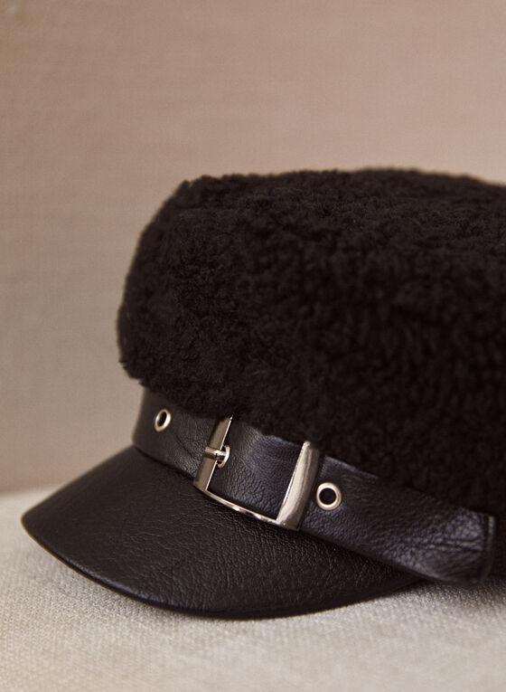 Decorative Buckle Detail Newsboy Cap, Black
