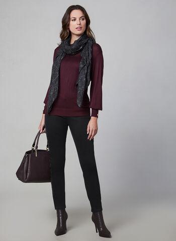Long Sleeve Lightweight Sweater, Purple,  sweater, knit, blouson, long sleeves, lightweight, fall 2019, winter 2019