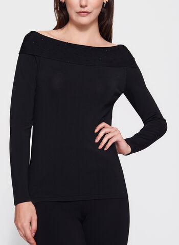 Embellished Marilyn Neck Sweater, Black, hi-res