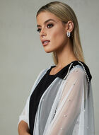 Karl Lagerfeld Paris - Pearl Embellished Open Front Poncho, Off White, hi-res