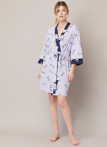 Floral Print Robe, Purple,  fall winter 2020, accessories, jewellery, chain, golden tone, pendant, disk