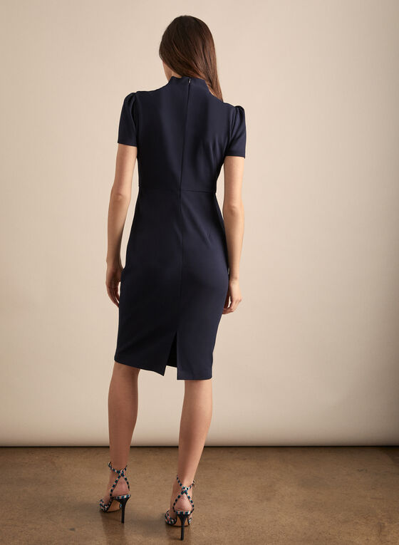 Maggy London - Short Sleeve Bow Detail Dress, Blue