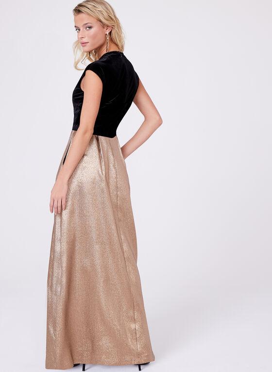 Ellen Tracy - Robe plissée dorée avec corsage velours, Or, hi-res