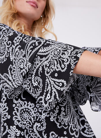Paisley Print Jersey Top , Black, hi-res