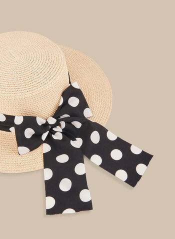 Polka Dot Ribbon Straw Hat, Off White,  hat, sun hat, straw hat, polka dot print, polka dots, spring 2020, summer 2020