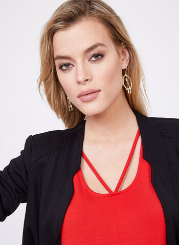 Lace Effect Jersey Top, Red, hi-res