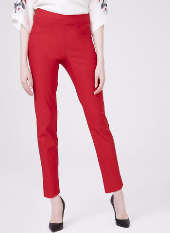 Pantalon pull-on cheville à jambe étroite, Rouge, hi-res