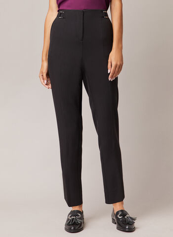 Buckle Detail High Rise Pants, Black,  pants, slim, high rise, peg leg, pockets, buckle detail, bi-stretch, fall winter 2020