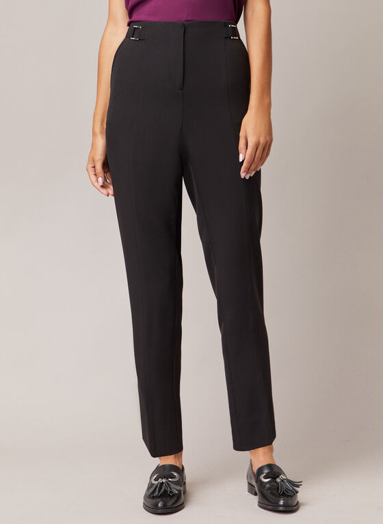 Buckle Detail High Rise Pants, Black
