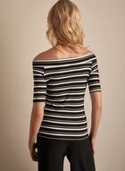 Stripe Print Off-The-Shoulder Top, Black