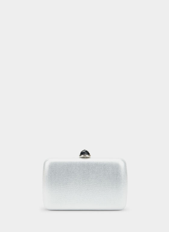 Rectangular Box Clutch, Silver