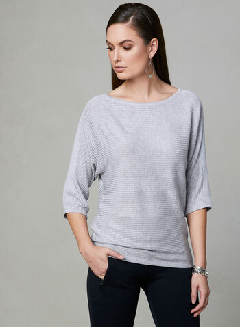 Ribbed Dolman Sleeve Top, Grey, hi-res
