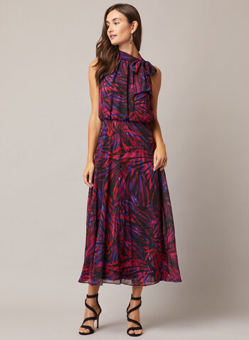 Maggy London - Abstract Print Tie Neck Dress, Red,  evening dress, abstract, tie neck, sleeveless, chiffon, fall winter 2020