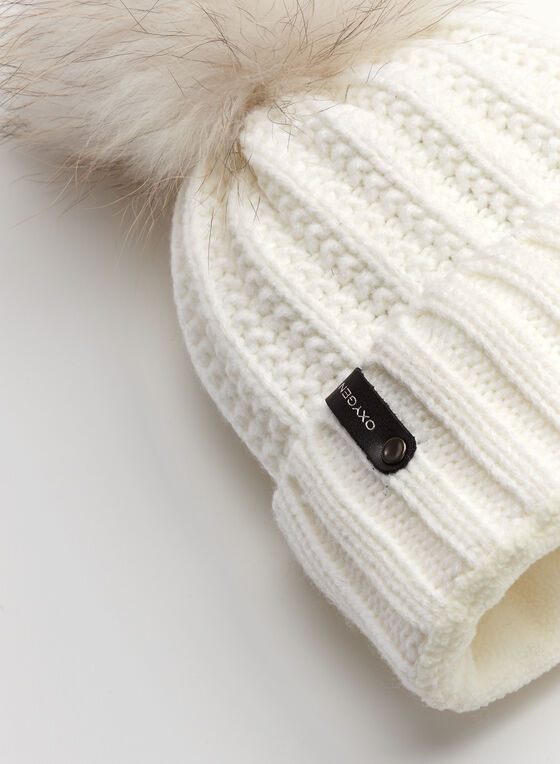 Fur Pompom Knit Hat, White, hi-res