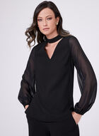 Sheer Sleeve Choker Neck Top, Black, hi-res